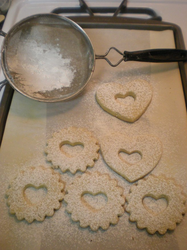 Valentine's Day Cookies - Dusted with Powdered Sugar