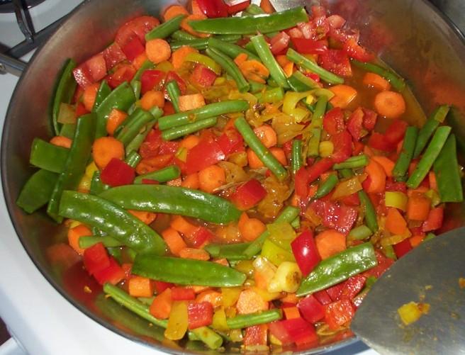 Vegetable Biryani and Roasted Spiced Potatoes - Vegetable Biryani Prep.