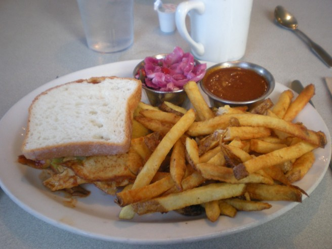 Lunch at Harry's Roadhouse in Santa Fe, NM - Turkey Sandwich with Fries