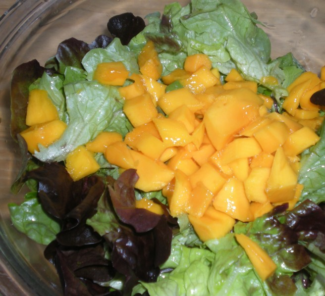 Tropical Salads - Prepared Greens and Cubed Mangoes