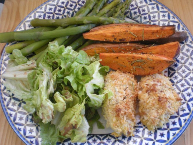 Coconut Crusted Chicken with Sweet Potato Fries