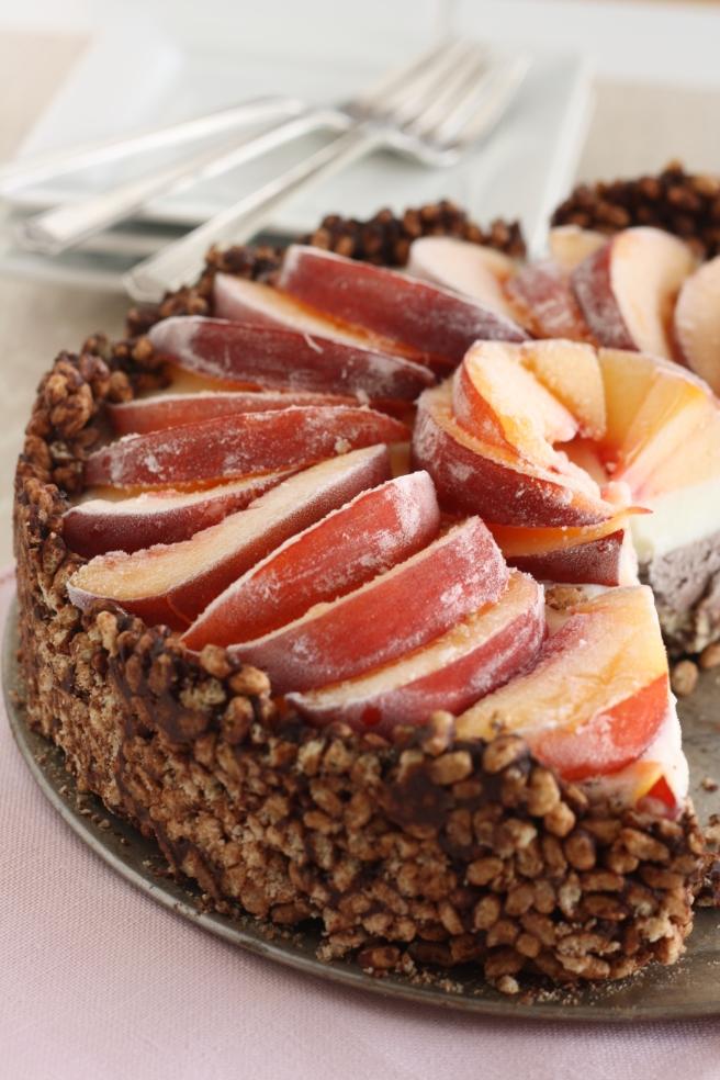 Coconut Milk Ice Cream Cake with Nectarines