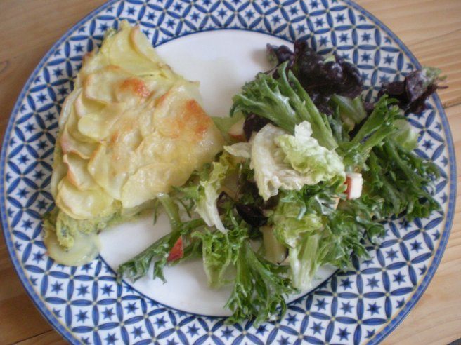 Potato and Zucchini Pie - With Salad