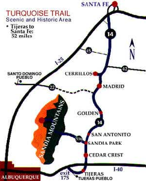 Madrid, NM: A Ghost Town Reborn - Map of Turquoise Trail