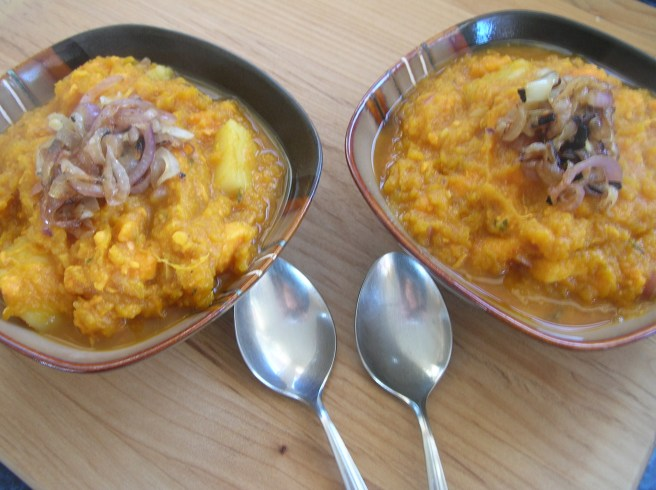 Autumn Pumpkin Stew with Caramelized Onions