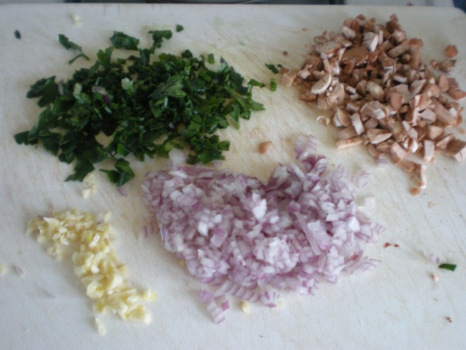 Stuffed Mushrooms - Ingredients for Filling