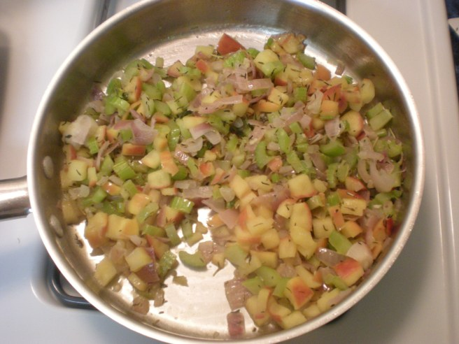 Apple-Cranberry Stuffing - Cooked Onions, Celery, Garlic and Apple