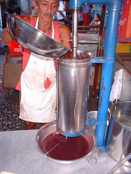 Tropical Acai Bowl - Processing of Acai Berries into Juice