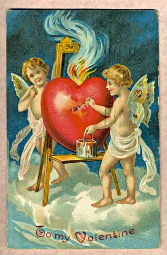 Hearts for Valentine's Day - Antique Valentine's Card from 1909
