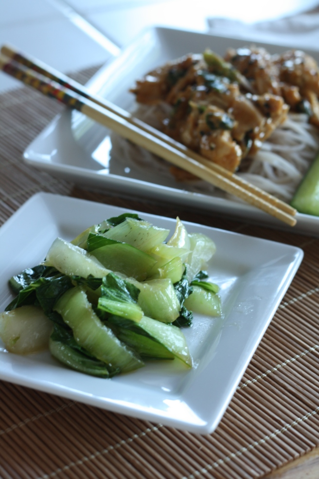 Ginger Bok Choy and Steamed Chicken Salad with Sesame Sauce