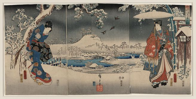 Mochi - Japanese Food Culture - Tale of Genji - Toyokuni Utagawa Print