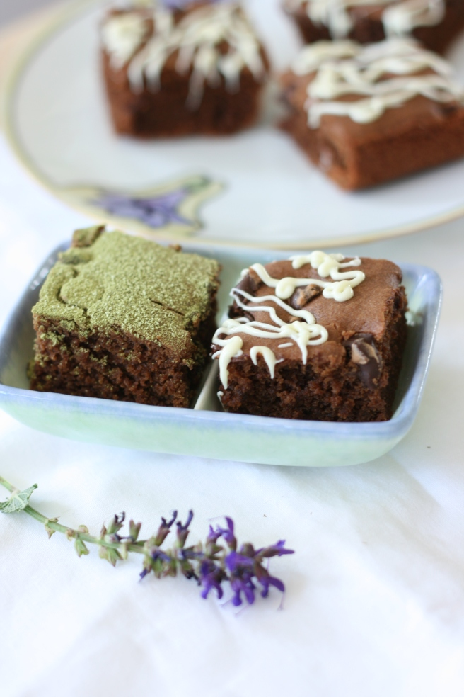 Brownies with a Hint of Matcha - A delicious gluten free option