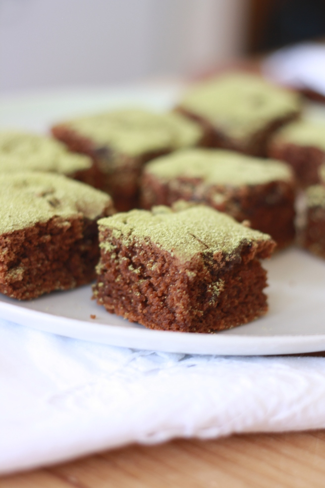 Brownies with a Hint of Matcha - A gluten free alternative
