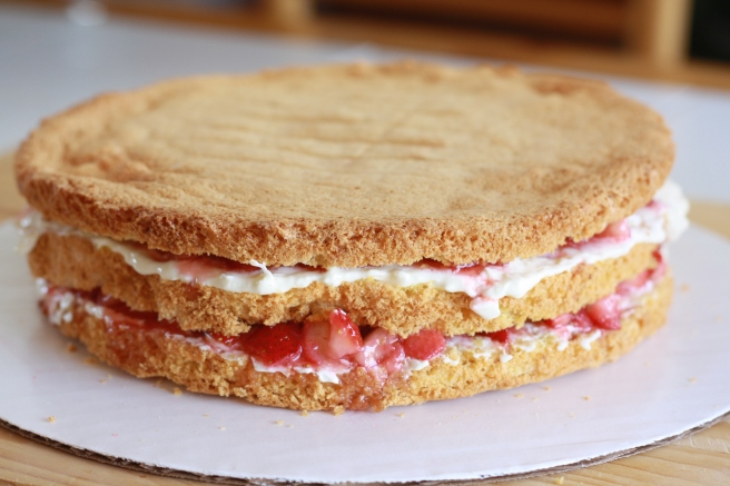 French Strawberry Cake - Assembly of Triple Layer Genoise with Filling